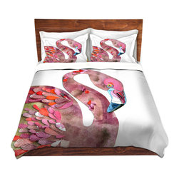 DiaNoche Designs - Duvet Cover Twill - Flamingo - Lightweight and super soft brushed twill Duvet Cover sizes Twin, Queen, King.  This duvet is designed to wash upon arrival for maximum softness.   Each duvet starts by looming the fabric and cutting to the size ordered.  The Image is printed and your Duvet Cover is meticulously sewn together with ties in each corner and a concealed zip closure.  All in the USA!!  Poly top with a Cotton Poly underside.  Dye Sublimation printing permanently adheres the ink to the material for long life and durability. Printed top, cream colored bottom, Machine Washable, Product may vary slightly from image.