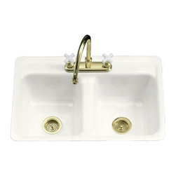 "KOHLER - KOHLER K-5950-4-0 Delafield Tile-In Metal Frame Kitchen Sink with Four Hole Fauc - KOHLER K-5950-4-0 Delafield Tile-In Metal Frame Kitchen Sink with Four Hole Faucet Drilling in WhiteThe Delafield kitchen sink offers exceptional quality and KOHLER(R) Cast Iron durability in a conventional design. For tile-in or metal frame installations of at least 33"", the sink has double equal basins of 8"" depth and four-hole faucet drilling. Choose from a palette of KOHLER colors to customize your kitchen decor."