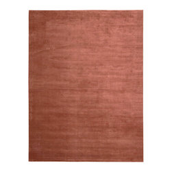 """Calvin Klein Home - Calvin Klein Home CK18 Lunar LUN1 2'3"""" x 7'6"""" Rust Area Rug 42717 - Alternating high and low-lying pile yarns highlighted in a deep onyx color hues.Plush, velvet-like fibers are combined in an understated graphic manner, forming a sculptural ribbed pattern emluating the look of a tibetan rug."""