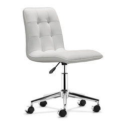 ZUO MODERN - Scout Office Chair White - Modeled after a classic design, the Scout office chair is wrapped and tufted in a soft leatherette and comes in two colors: white and black. The seat sits on a solid chrome base with an adjustable height feature.