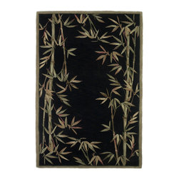 """Kas - Tropical Bamboo Border Black Sparta Floral 7'9"""" x 9'6"""" Kas Rug  by RugLots - Our Sparta Collection is an exclusively designed line of hand-tufted carpets with an antique finish. These rugs are made in China using high density Chinese wool. Classic and new designs in floral and other styles have been constructed using current color trends. These rugs are finished with an antique vegetable-dyed look and abrash effect. The combination of fresh color and design and antique finish gives this collection unique trend-setting characteristics."""