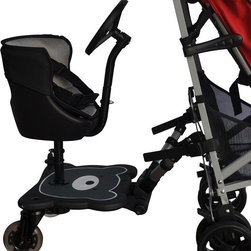 Englacha - Englacha 2-in-1 Cozy B Rider Multicolor - 06012014-1 - Shop for Stroller Attachments from Hayneedle.com! No need to invest in a double stroller just because another child comes along. The Englacha 2-in-1 Cozy B Rider easily transforms any stroller into a tandem stroller for easy getting around with both children. The most universal 2-in-1 stroller board available the 2-in-1 Cozy B Rider fits all stroller types thanks to a connector device that adjusts in length width and height. It's designed for children 18 months of age and older and up to 55 lbs. It features a soft seat pad for extra comfort. The wheels are even padded for a comfortable ride on any surface and they light up when they move - great for nighttime walks. About EnglachaBased in Taipei and known as the CalSun Corporation while operating around the world with offices in Shanghai and Los Angeles the company known as Englacha is always trying to bring innovation and high-quality to the consumers of child-related products worldwide. In 2006 Englacha received the prestigious Kind + Jugend Innovation Award in Koln Germany. They still strive to provide safety innovation and convenience to parents around the globe.