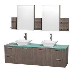 Wyndham Collection - Double Vanity Set with Medicine Cabinet - Includes drain assemblies, mirror, sinks, and P-traps for easy assembly. Faucets not included. Four functional drawers. Two functional doors. Single-hole faucet mount. Fully-extending soft-close drawer slides. Concealed soft-close door hinges. Deep doweled drawers. Unique and striking contemporary design. Highly water-resistant low V.O.C. sealed finish. Eight-stage preparation. Lifetime warping prevention. Green glass top. White porcelain sinks. Metal exterior hardware with brushed chrome finish. Made from veneers and high quality grade E1 MDF. Gray oak finish. Vanity: 72 in. W x 22.25 in. D x 21.25 in. H. Sink: 5.5 in. H. Medicine cabinet: 71.5 in. W x 6 in. D x 30 in. H. Care Instruction. Vanity Assembly Instruction. Medicine Cabinet Assembly InstructionModern clean lines and a truly elegant design aesthetic meet affordability in the (No Suggestions) collection amare vanity. Available with green glass or pure white man-made stone counters, and featuring soft close door hinges and drawer glides, you'll never hear a noisy door again! Meticulously finished with brushed Chrome hardware, the attention to detail on this elegant contemporary vanity is unrivalled.