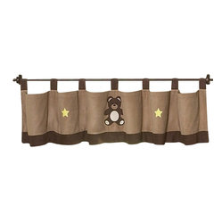 Chocolate Teddy Bear Window Valance