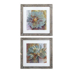 Uttermost Sublime Truth Floral Art, Set/2 - Reclaimed wood-look frame with heavily distressed browns with a heavy taupe and gray glaze. Prints are surrounded by off-white linen mats then encased by reclaimed wood-look frames featuring heavily distressed browns with a heavy taupe and gray glaze. Prints are under glass.