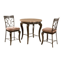 Steve Silver Company - Steve Silver Company Hamlyn 3  Piece Round Counter Height Dining Table Set in Br - Steve Silver Company - Dining Sets - HL600PT3PcDiningPKG - Steve Silver Company Hamlyn Round Counter Height Dining Table in Brown