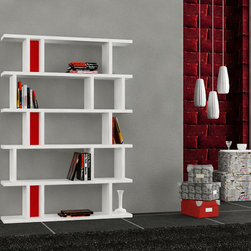 Tote Bookcase White-Red - Decortie