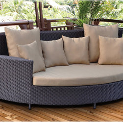 None - Zaga Outdoor Wicker Daybed - This outdoor daybed features all-weather wicker that makes a fantastic addition to your outdoor furniture setting. Crafted from a rust-resistant aluminum frame and sturdy,weather-proof polyester,this chaise combines quality and style.