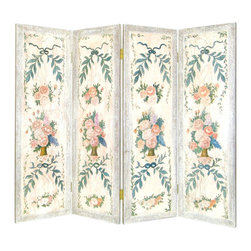 Wayborn - Wayborn Hand Painted Light Floral Wall Room Divider - Wayborn - Room Dividers - 4760 - Wayborn hand painted screens start with a cedar plywood frame covered in a cheesecloth material. Then layer after layer of plaster is applied; each layer must dry before another layer can be applied. After all the plaster has been applied several coats of lacquer is put over the entire surface. At that time the artist begins to sketch out the painting directly on the panels of the screen and begins painting the design with water based paint.  Each one of these screens has its own characteristics and is truly a work of art.