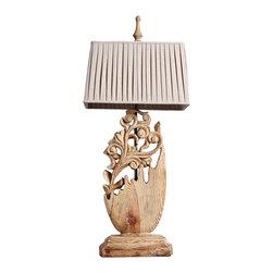 Handcrafted Hollow-out Wooden Floral Leaf Decorative Table Lamp - Exquisitely crafted engraving art from rustic to contemporary,Traditional lines highlight this single light table lamp from the fleuron collection.