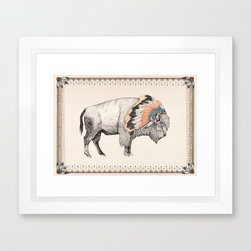 Cloud Buffalo Art Print - The white bison is considered a sacred animal by several Native American cultures. Bring some of its blessings into your own home with this fine art print.