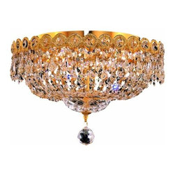 "PWG Lighting / Lighting By Pecaso - Agathe 4-Light 14"" Crystal Flush Mount 1615F14G-SS - This classical Agathe Crystal Chandelier with flowing symmetrical shape and nearly invisible frame offers a striking surge of brilliant light. Sconces and ceiling mounts enhance your room decor."