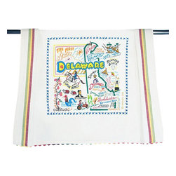 CATSTUDIO - Delaware State Dish Towel by Catstudio - This original design celebrates the state of Delaware.  This design is silk screened, then framed with a hand embroidered border on a 100% cotton dish towel/ hand towel/ guest towel/ bar towel. Three striped down both sides and hand dyed rick-rack at the top and bottom add a charming vintage touch. Delightfully presented in a reusable organdy pouch. Machine wash and dry.