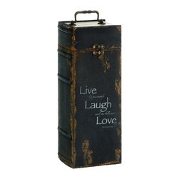 Imports - Wood Wine Cabinet Rustic Brown Metal Live Laugh Love Kitchen ...