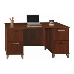 Bush Somerset Hansen Cherry Computer Desk - Computer Desks at Hayneedle - This 60-inch MDF wood desk with Hansen Cherry finish is perfect for any office, whether in your home or otherwise. The Bush Somerset Computer Desk has two file drawers that hold letter-size files for lots of storage and easy access to all of your papers. There are two box drawers for additional storage of all your miscellaneous supplies so that everything you need is right there at the tips of your fingers. The attractive, modern brushed-nickel accents will suit any space or decor. This desk of durable wood construction comes with a manufacturer's 6-year warranty. This product meets BIFMA (Business and Institutional Furniture Manufacturer's Association) strict standards for safety and performance.