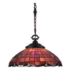 Meyda - 20 Inch Width Elan Pendant Ceiling Fixture - Color theme: Pbagwg PLBR Zag Amber