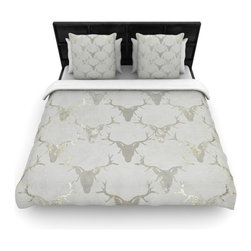 "Kess InHouse - Michelle Drew ""Gilded Stags"" Gray Metallic Fleece Duvet Cover (Twin, 68"" x 88"") - You can curate your bedroom and turn your down comforter, UP! You're about to dream and WAKE in color with this uber stylish focal point of your bedroom with this duvet cover! Crafted at the click of your mouse, this duvet cover is not only personal and inspiring but super soft. Created out of microfiber material that is delectable, our duvets are ultra comfortable and beyond soft. Get up on the right side of the bed, or the left, this duvet cover will look good from every angle."