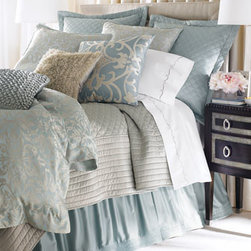"Lili Alessandra - Lili Alessandra Blue/Silver ""Olivia"" Applique Pillow, 22""Sq. - Although these pastel blue and silver bed linens feel as if they're made of silk charmeuse, they're machine washable. Jacquard duvet covers and matching accessories are tencel and silk; all other linens are polyester except the cotton/viscose ""Olivia""..."
