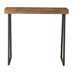 Urban Wood Goods - Brooklyn Modern Rustic Reclaimed Wood Console Table - The Brooklyn Modern Rustic Console table is a mix of old and new. Industrial gunmetal colored steel tapered legs pair with an Old growth reclaimed wood top that dates back over 100 years. Each top had a former life as a floor joist supporting barns, homes and buildings in the Chicago area and surrounding midwestern states.