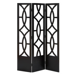 Benzara - Room Dividers Wood 3 Panel Screen 72in.H, 48in.W - Size: 48 Wide x 1 Depth x 72 High (Inches)