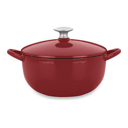 Mario Batali by Dansk Classic 3-Quart Soup Pot, Chianti - I can totally imagine soup or stew simmering on the stovetop in this beautiful red enamel-coated cast iron pot.
