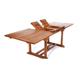 All Things Cedar - 8ft Teak Patio Extension Table - with foldable butterfly  leafs - Table Dimensions: 72 x 36 x 30H (expandable to 95 x 36 x 30H) Item is made to order.