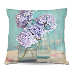 DiaNoche Designs - Pillow Woven Poplin - Sylvia Cooks Hydrangeas in Mason Jars - Toss this decorative pillow on any bed, sofa or chair, and add personality to your chic and stylish decor. Lay your head against your new art and relax! Made of woven Poly-Poplin.  Includes a cushy supportive pillow insert, zipped inside. Dye Sublimation printing adheres the ink to the material for long life and durability. Double Sided Print, Machine Washable, Product may vary slightly from image.