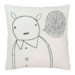 k studio - Strange Portrait Series, Animal Man Pillow - Great design, green materials, and social responsibility need not be at odds with one another. In fact, at k studio they think these ideas are inseparable. They started this company with just this idea in mind. At Shelly and Mary Klein's growing studio in Grand Rapids, Michigan, they manage each product from start to finish. They start with fabric made from some of the most sustainable materials available such as hemp, organic cotton, and recycled wool. K studio designs are generated in house and are then embroidered, assembled, packaged, and shipped by their skilled team. Embroidered portraits of strange characters adorn these organic cotton pillows.  The back of each features one small detail from the front.