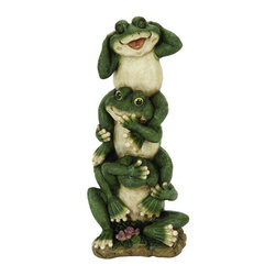 None - Frog Garden Decor - It's not all about leaping from one lilypad to the next, frogs are highly intelligent animals and highly ethical as well. Vowing to 'Hear No Evil, Speak No Evil, See No Evil,' This accent features three frogs standing atop each other.