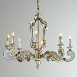 John-Richard Collection - Florence de Dampierre Architectural Mirrored Chandelier - Stunningly beautiful, this architecturally inspired chandelier features eight flat-scroll arms covered in mirrored metal veneer.