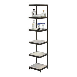 Arteriors - Hattie Etagere - Six square antiqued mirror shelves are supported and framed by blackened iron bands. The cantilever design and size make this an ideal piece to store rolled towels in a bathroom, display stacked books, or use as a bar. Mirror finish may vary.