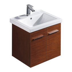 VIGO Industries - VIGO 24-inch Amber  Single Bathroom Vanity with Mirror, Wenge, Without Extras - The VIGO Amber is a wall mounted square contemporary style vanity in a wenge finish with a white ceramic sink.