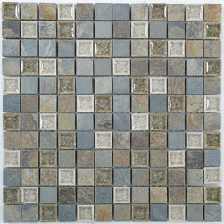 "Euro Glass - Bluegreen Wash TS902 1"" x 1"" Grey 1"" x 1"" Tumbled Glass and Stone - Sheet size: 11 7/8"" x 11 7/8"""
