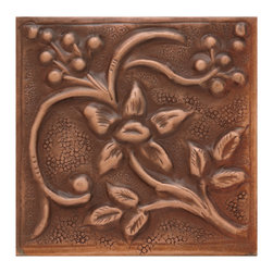 "4"" Solid Copper Wall Tile with Floral Vine Design - Antique Copper Patina - The Copper Wall Tile with Floral Vine Design adds a stylish element to any kitchen, bath or bar. Each tile is handcrafted from solid copper."