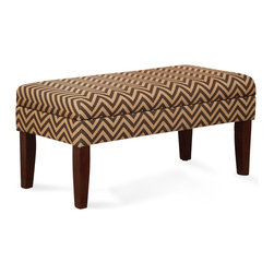 Kinfine - Chocolate/Tan Chevron Decorative Storage Bench - Multi-functional storage bench that works in many rooms.