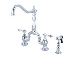 Kingston Brass English Country Bridge Kitchen Faucet With Sprayer - Kingston Brass English Country Bridge Kitchen Faucet With Sprayer - For the traditional style and vintage flavor, look no further than the Kingston Brass English Country Kitchen Bridge Faucet with Brass Sprayer. This faucet is elegantly designed to coordinate perfectly with almost all traditional styles of decor. The Victorian styling can be seen through the artistic curves found throughout this faucet. Its solid brass construction ensures that this faucet will perform to the highest standards and is both durable and reliable. This faucet is equipped with ceramic disc cartridges for drip-free performance and the spout stands at 14 1/2 inches with a reach of 8 1/4 inches giving the user a large area for washing. Included is a matching brass sprayer for additional cleaning power. This faucet installs on 3 holes using standard 1/2 inch connections.