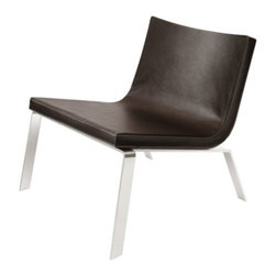 Blu Dot - Stella Lounge Chair by Blu Dot - Whether the event is casual or formal, the Blu Dot Stella Lounge Chair is a great piece of furniture to flaunt. Features a caressable superfiber-leather alternative cover and a low-slung curved design over stainless steel legs. Definitely eye candy, and comfortable to boot. Available in Dark Brown, White and Black. In 1997, Blu Dot was established in Minneapolis by three college friends with a shared passion for art, architecture and design. Then and today, their goal is to bring good design to as many people as possible, collaborating to create modern home furnishings and accessories that are useful, affordable and exceedingly desirable.