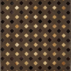 Dynamic Rugs - Dynamic Rugs Leatherwork 8102-602 (Light Brown) 7' x 10' Rug - Leatherwork is a collection of fresh designs styled in modern looks from renewable, natural materials. There is no denying the appeal of these attractive natural looks in today's fashion for floor coverings. Some of the rugs in this collection are made with high fashion, stitched, leather patch finishes. This styling technique of blending natural colorations of leather in a patchwork field results in unique designs for each rug. The other rugs which both completes and adds uniqueness to the collection are constructed with high quality wool pile and leather insets to create lovely textured, softly blending patterns.The resulting styling of the rugs in this collection range from modern stripe patterns to appealing lodge look designs. All of the rugs are finished with felted backing for a more stability on the floor and a softer feel under the foot.