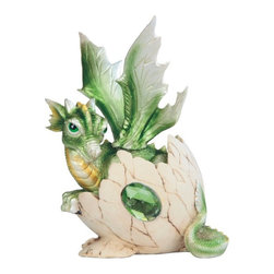 GSC - 5.75 Inch Green Baby Dragon in Eggshell with Gem Figurine - This gorgeous 5.75 Inch Green Baby Dragon in Eggshell with Gem Figurine has the finest details and highest quality you will find anywhere! 5.75 Inch Green Baby Dragon in Eggshell with Gem Figurine is truly remarkable.