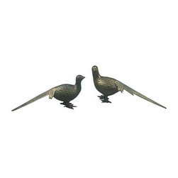 Decorative Brass Pheasants - This pair of brass pheasants make wonderful decorative accents that adds a touch of elegance to any room.  Some patina on brass. These two are lovely year round, but would look especially charming on your holiday tablescape!