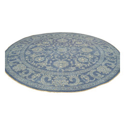 Tone on Tone Denim Blue Peshawar 10'x10' Round Hand Knotted Oriental Rug Sh17783 - Oushak stands for the western Anatolian Turkish city, known for its rare collectible rugs made during the Ottoman Empire. Today we are recreating these historical carpets, in the centuries-old hand weaving techniques, the same fantastic designs in a variety of colors to fit today's decor and taste using natural dyes and hand spun wool. Ziegler stands for Ziegler and company, German based oriental rug importer which operated between 1880-1920. They originally produced and imported these precious carpets in the Mahal region in Iran, specifing to the locals the German and European taste.