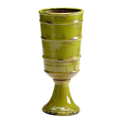 Kathy Kuo Home - Stockton Rustic Moss Green Outdoor Ceramic Vase - When placed in a neutral toned room or on a sedate mantel, the vibrant green glaze of this vase adds an easy sophisticated touch.  Country cottages and urban townhouses alike will benefit from the vintage good looks and classic shape.