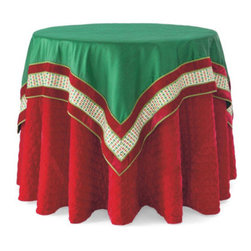 Grandin Road - Christmas Harlequin Table Topper - Both sizes feature an emerald green ground with an embroidered harlequin ribbon and red velvet border. 100% polyester. Complete the festive look with our red velveteen Quilted Tablecloth (sold separately). Set the stage for a beautiful holiday with our lustrous emerald green Christmas Harlequin Table Topper and Runner.  .  .  .
