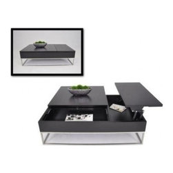 Modern Black Transforming Coffee Table with Storage Aria - Features: