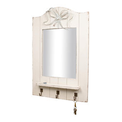 Enchante Accessories Inc - Distressed Wall Shelf with Rectangular Mirror and 3 Coat Hooks (White/Blue) - Wood wall shelf with rectangular mirror and 3 coat hooks