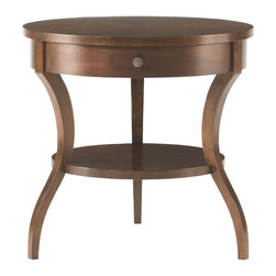 Hickory White - Hickory White Tiered Round End Table 653-22 - Maple solids with walnut veneers, no distressing.