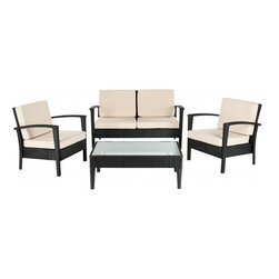 Safavieh - Hamish 4-Piece Set, Black/Cream, 36.2 X 18.1 X 18.5 - Hamish 4-Piece Set. Coffee Table 36.2 X 18.1 X 18.5