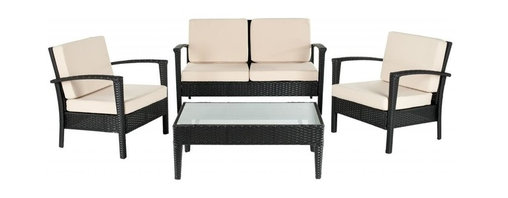 Safavieh - Hamish 4-Piece Set, Black/Cream, 36.2 X 18.1 X 18.5 - Hamish 4-Piece Set. Coffee Table 36.2 X 18.1 X 18.5