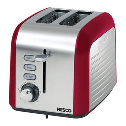 "NESCO - NESCO T1000-12 2-Slice Toaster (Red/Chrome) - 100W;1.5"" slots with self-adjusting guides;Cancel, bagel & defrost functions with indicator lights;Soft touch shade control dial & lift-&-lock lever;Slide-out crumb tray & cord storage;Stainless steel housing;Red accents"