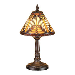 Meyda Tiffany - Meyda Tiffany Lamps Table Lamp in Copperfoil - Shown in picture: Nuevo Mission Mini Lamp; Warm Earth Toned Bone Beige And Moccasin Tan Stained Glass - Accented With Glistening Root Brown And Sage Green - Is Used To Make This Intricate Interlocking Patterned Shade. A Traditional Lamp Base In A Hand Applied Mahogany Bronze Finish Supports The Handsome Round Cone Shade Inspired By Native American Artwork. Handcrafted With The Copper Foil Technique Developed By Louis Comfort Tiffany - This Mini Lamp Is A True Masterpiece.